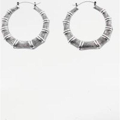 Bamboo Hoop Earrings, SILVER