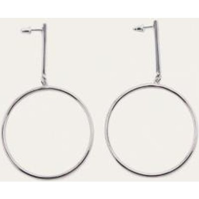 Stick and Circle Drop Earrings, SILVER