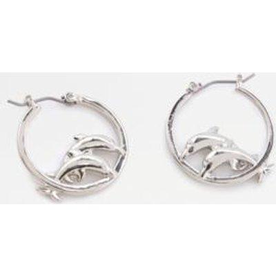 Skinnydip Dolphin Hoop Earrings, SILVER