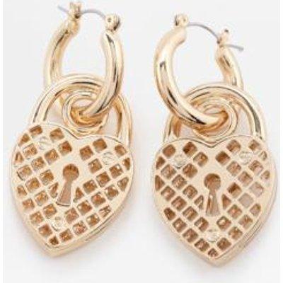 Skinnydip Aida Chunky Heart Padlocked Hoop Earrings, GOLD