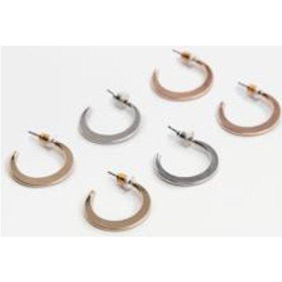 Flattened Hoop Earrings 3-Pack, ASSORTED