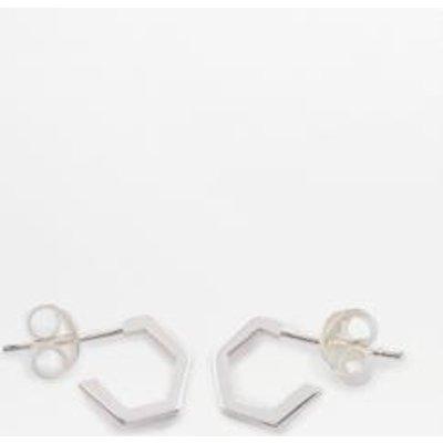 Rachel Jackson London Hexagon Silver Small Hoop Earrings, SILVER
