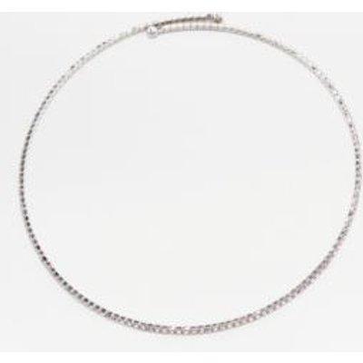 Rhinestone Chain Choker Necklace, SILVER