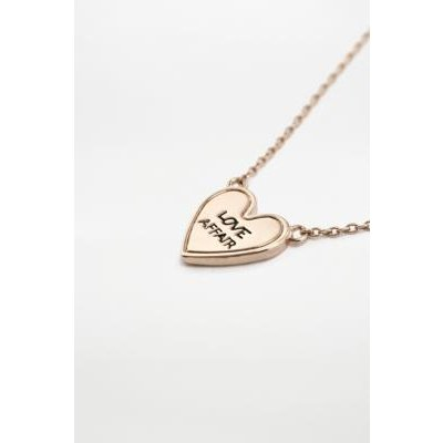 Engraved Love Affair Heart Necklace, GOLD