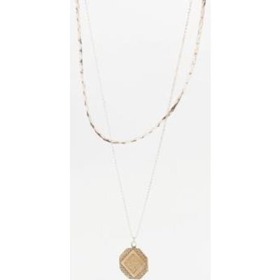 Vintage Square Charm Necklace 2-Pack, GOLD
