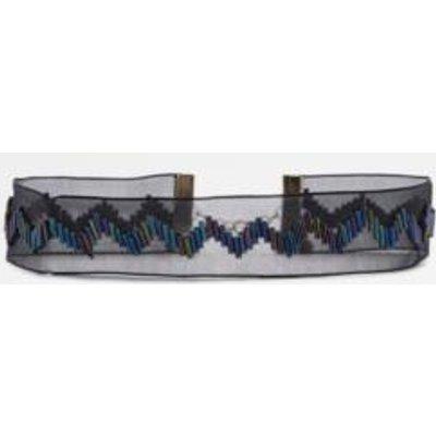 Bugle Beaded Ribbon Choker Necklace, BLACK