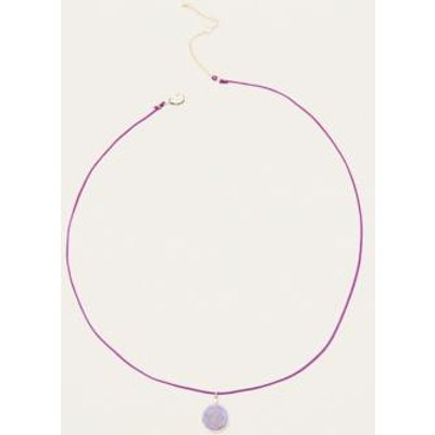 Marbled Pendant Cord Necklace, PURPLE