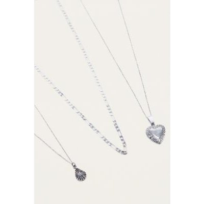 Vintage Heart Layering Necklace 3-Pack, SILVER