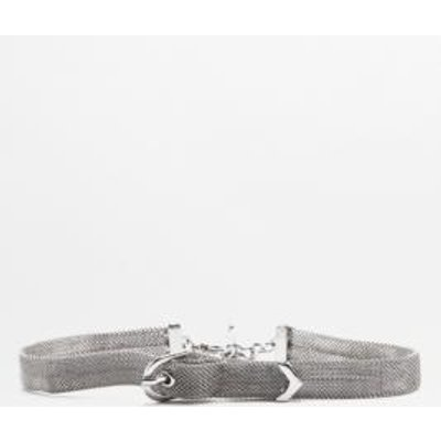 Mesh Buckle Choker Necklace, SILVER