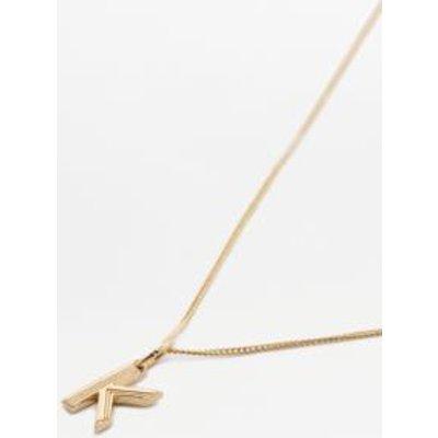 Rachel Jackson Deco Initial Alphabet Pendant Necklace, DARK GREY