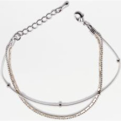 Ditsy Cord And Chain 3-Strand Bracelet, WHITE
