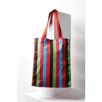 Alison Striped Tote Bag, RED