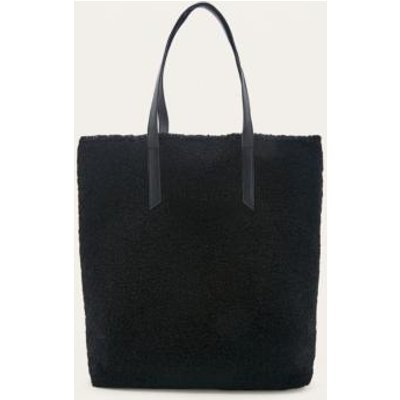Black Shearling Tote Bag, BLACK