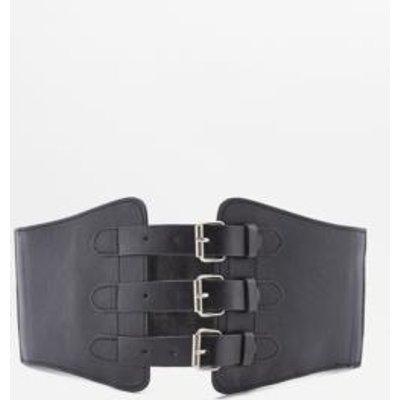 Black Elastic Corset Buckle Belt, BLACK
