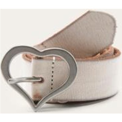 Heart Buckle Leather Belt, WHITE