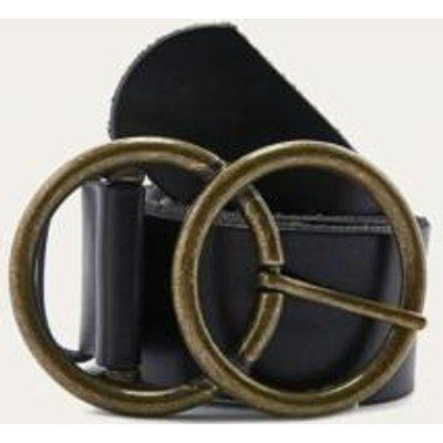 Double C-Buckle Belt, BLACK