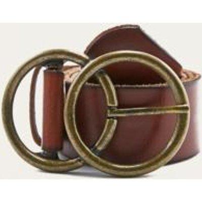 Double C-Buckle Belt, BROWN