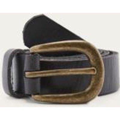 Boyfriend Black Leather Belt, BLACK