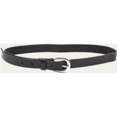 Boyfriend Black Leather Belt, BLACK & WHITE