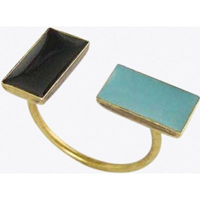 Antiqued Brass Double Bar Ring in Duck Egg and Black