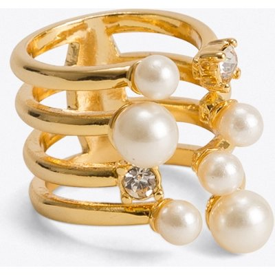 Crystal & Pearl Cocktail Ring in Gold