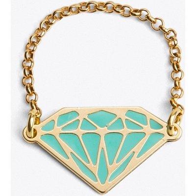 Diamond Ring in Green Enamel