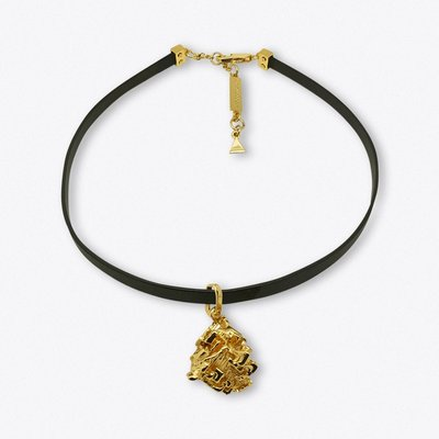 Gold Vortex Stone Leather Choker