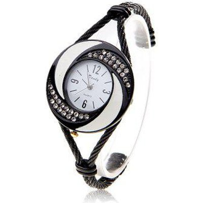 Fashionable Daudy White Dial Bracelet Wrist Watch with Rhinestone Decoration and 4 Arabic Numerals H