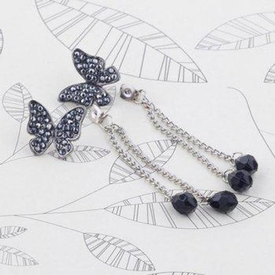 Pair of Rhinestoned Waterdrop Butterfly Earrings