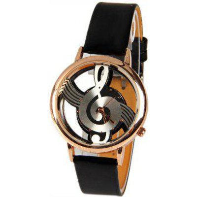 M388 Fashion Style Quartz Watch 12 Mini Dots Indicate with Music Notes Patterned and Leather Band -