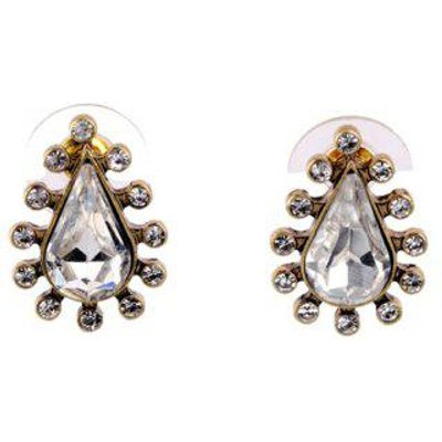 Pair of Rhinestone Water Drop Shape Stud Earrings