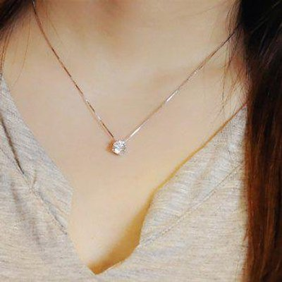 Round Fake Crystal Pendant Necklace