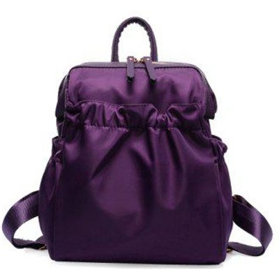 Leisure Solid Colour and Zipper Design Backpack For Women