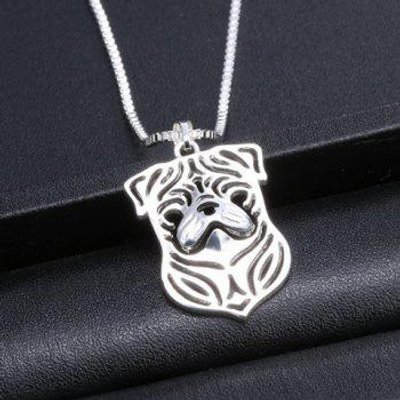 Vintage Pug Hollow Out Pendant Necklace For Women