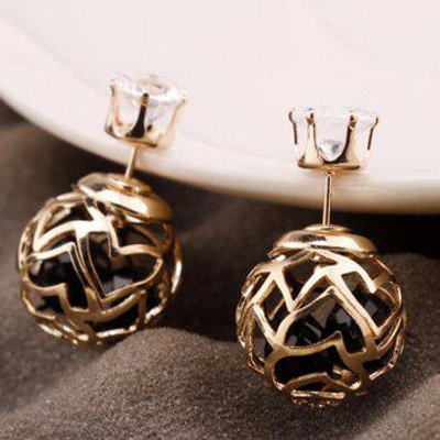 Pair of Faux Zircon Double Ended Hollow Out Stud Earrings