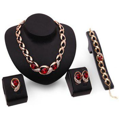 A Suit of Rhinestone Faux Ruby Necklace Bracelet Ring and Earrings