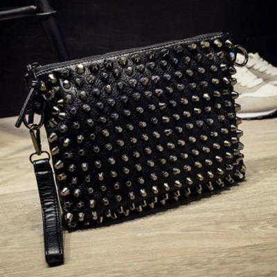 Punk Studded and Black Design Women's Clutch Bag