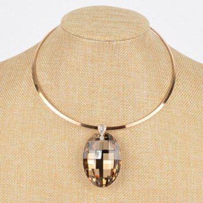 Alloy Rhinestone Oval Necklace