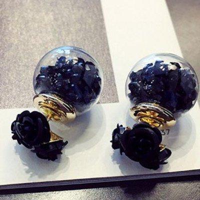 Faux Crystal Double End Flower Ball Stud Earrings