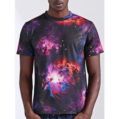 Stylish 3D Starry Sky Print Round Neck Short Sleeve Men's T-Shirt