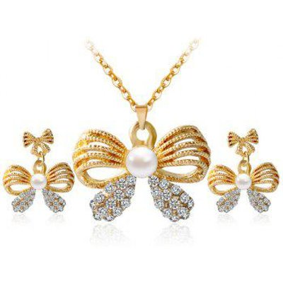 A Suit of Hollow Out Bowknot Rhinestone Necklace and Earrings