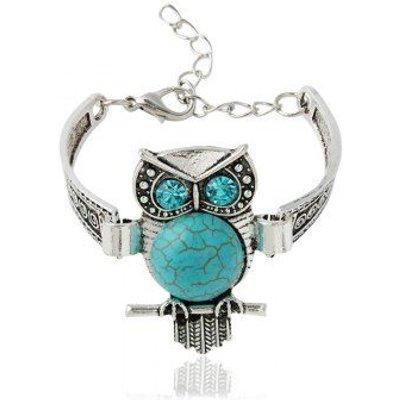 Fake Turquoise Rhinestone Engraved Owl Bracelet