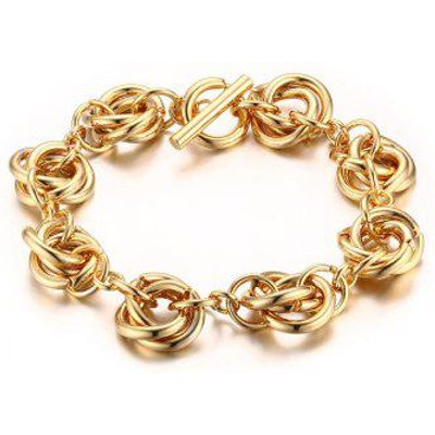 Multiple Circles Gold Plated Chain Bracelet