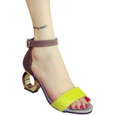 Trendy Color Block and Strange Heel Design Women's Sandals