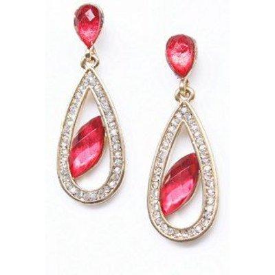 Pair of Artificial Ruby Rhinestone Teardrop Earrings
