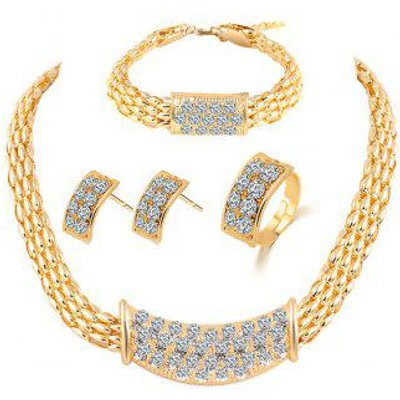 Alloy Rhinestone Necklace Earrings Bracelet and Ring