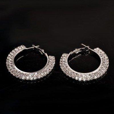 Rhinestone Embellished Alloy Circle Hoop Earrings