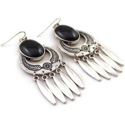 Oval Fuax Onyx Embossed Leaf Drop Earrings