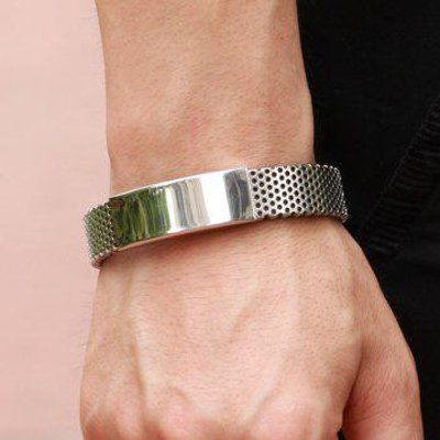 Hollow Out Titanium Steel Polished Bracelet