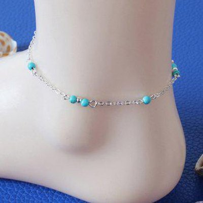 Fake Turquoise Bead Charm Anklet